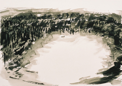 6 Landschap OI-inkt 37×53cm 2007